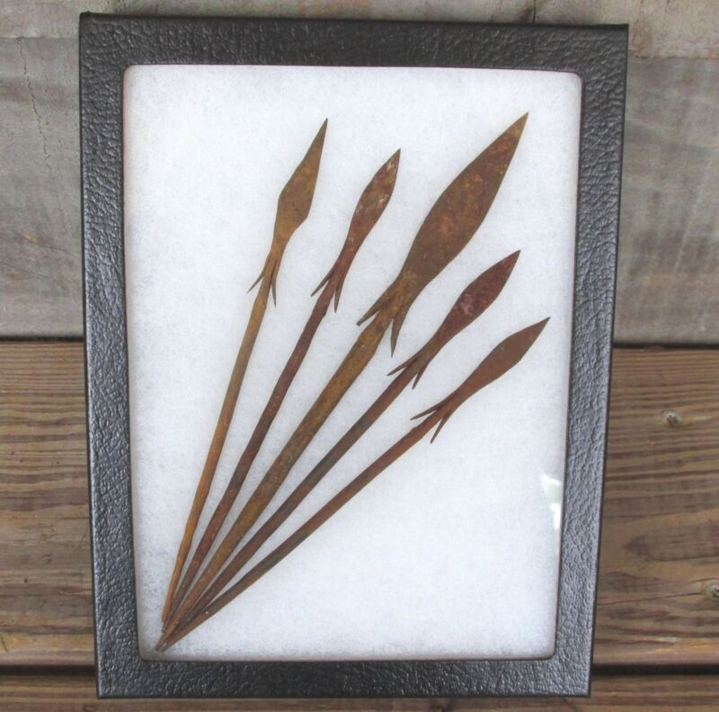 5 Iron Age Bura Culture Spear Points framed spears arrowheads arrows Africa OLD!