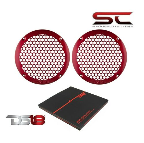 """Pair of DS18 Candy Red PRO-GRILL6MS 6.5"""" Slim Metal Mesh Honeycomb Speaker Grill"""