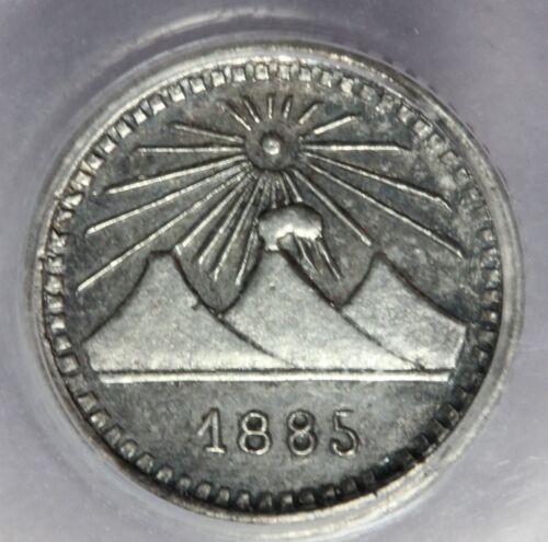 1885 Guatemala 1/4 Real Silver Coin - PCGS AU 58 - KM# 151