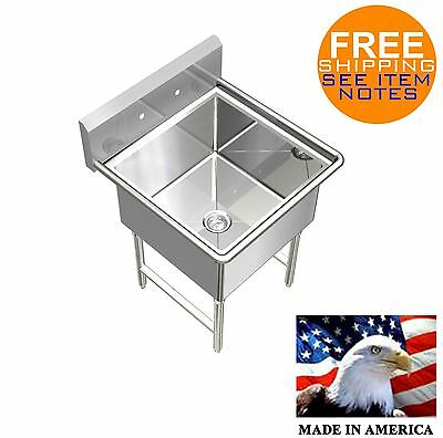 Pot Sink Heavy Duty Stainless Steel 14ga 1 Tub 23x24 Nsf No Drainboard