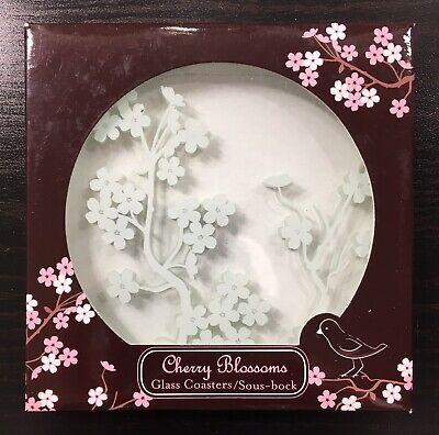 Kate Aspen Cherry Blossoms Glass Coasters Set of Two 2 KA27040NA (BRAND NEW)