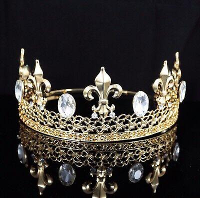 Large Full King's Metal Crown Austrian Rhinestone Crystal Fleur-De-Lis T39g Gold (Metal King Crown)