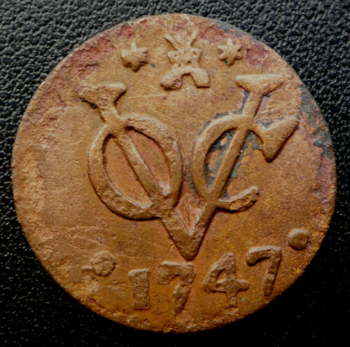 1747 DUTCH EAST INDIA COMPANY (V.O.C.) 275 YEAR OLD DUIT SCARCE DATE/MINT MARK
