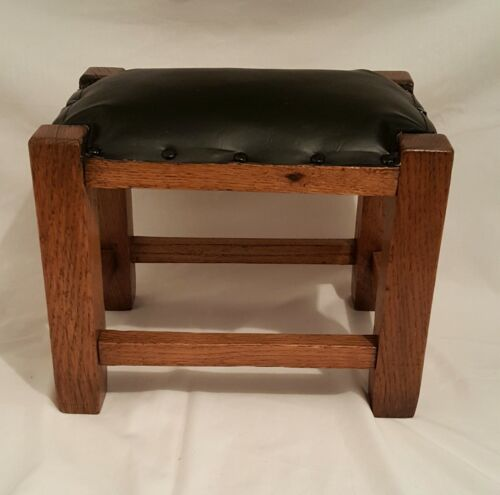 Solid Oak Mission-Style Small Foot Stool Recovered Ca 1920 Antique