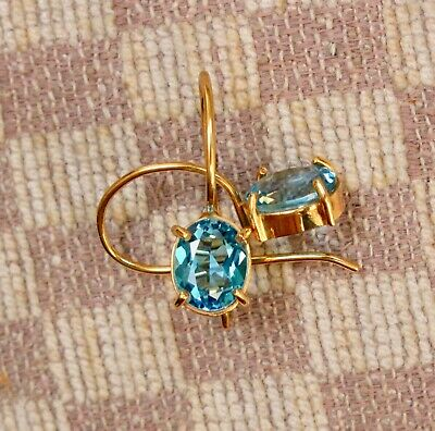 NEW 14K YELLOW GOLD FOUR CARAT 9x7mm OVAL BLUE TOPAZ FISH HOOK DANGLE EARRINGS