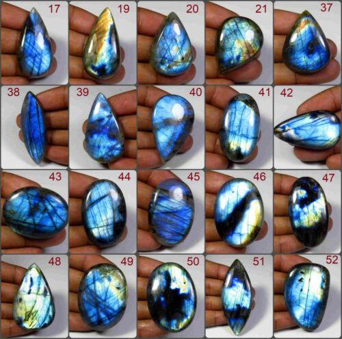 NATURAL BLUE FLASH LABRADORITE CABOCHON GEMSTONE MIX SHAPE LOOSE FR JEWELRY LB-H