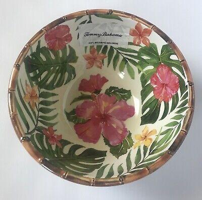 New Tommy Bahama Melamine Large Serving Bowl Pink Green Hibiscus (Green Melamine Bowl)