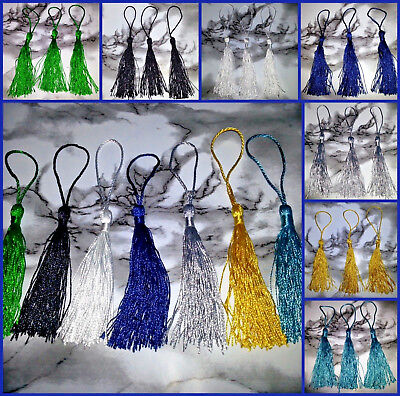 Large Tassels Gold White Black Silver Turquoise Blue Green 130x6mm NEW 3PC 5PC Black Silver Trim