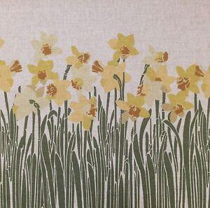 TEX EX ORIGINAL CYMRU DAFFODIL CUSHION PANEL LINEN FLORAL WALES WELSH FLOWERS