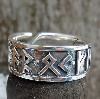 Wikingerring  Runenring  925 Silber 52-59  Mittelalter AR OK FRIDR Wikingersegen
