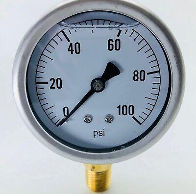 New In Box Hydraulic Liquid Filled Pressure Gauge 0-100 Psi