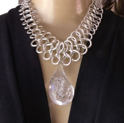 RJ Graziano Necklace Huge Clear Lucite Teardrop Pendant Wide Chainmail Collar