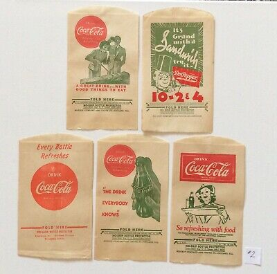 Vintage Set of 5 Coca Cola Paper Sleeves - No Drip Bottle Protectors