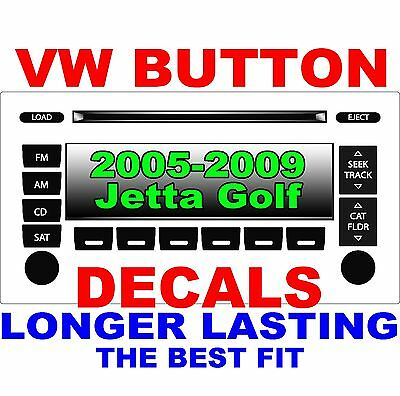 2005–2009 Volkswagen JETTA GOLF PASSAT Matte Black Radio Stereo Button Decal