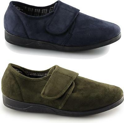 Mens Slippers Navy Blue Memory Foam Touch Fastening Sleepers CLEARANCE