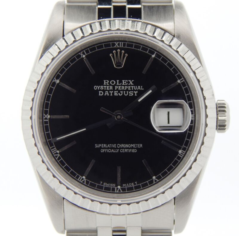 Rolex Datejust Mens Stainless Steel Sapphire Crystal Black Dial Watch 16220