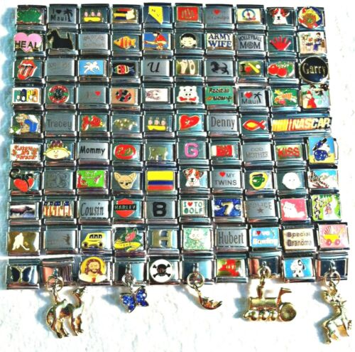 100 Piece ITALIAN  CHARMS 9mm lot # 385 No duplicates -FREE SHIPPING