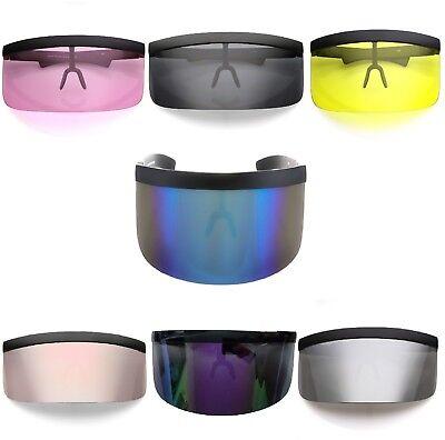 Futuristic Oversized Shield Visor Sunglasses Flat Top Mirrored Mono Lens (Flat Lens Mirrored Sunglasses)