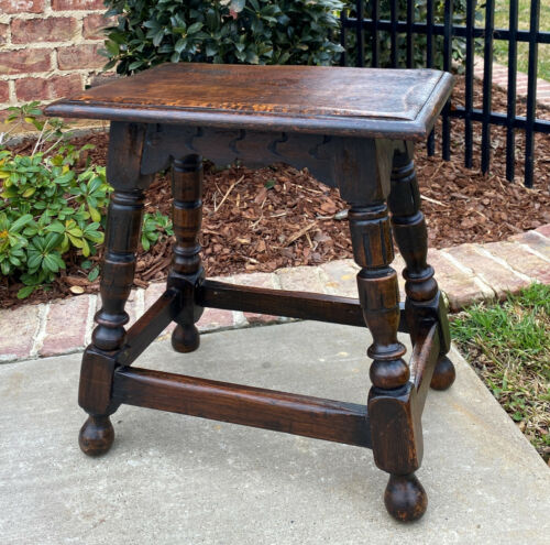 """Antique English Oak Joint Stool Footstool Bench Pegged Turned Post 18"""" T c.1930s"""