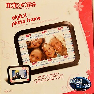 "Digital Picture Frame LCD 7"" 128 MB Limited Too BFF Best Friends Digital"