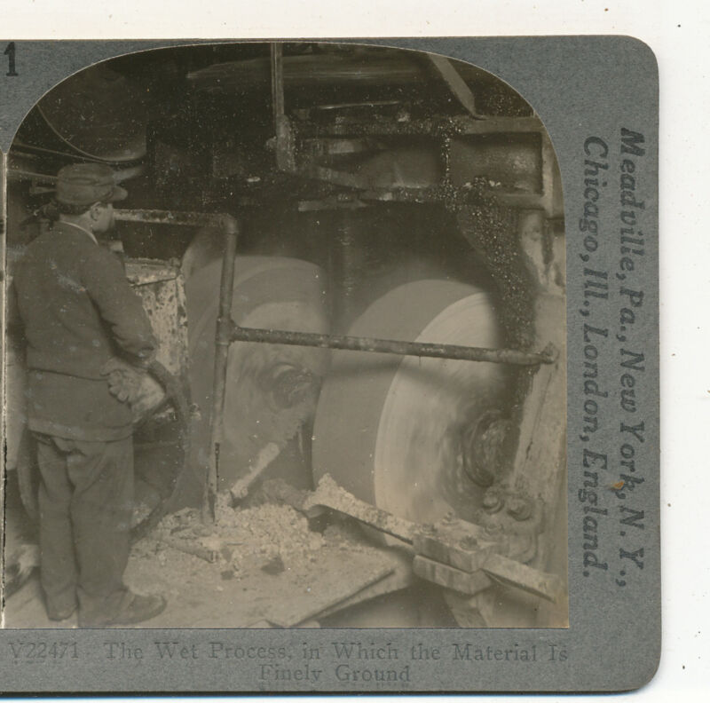 Wet Process in Which Material (Clay) is Ground Mill Keystone Stereoview c1900