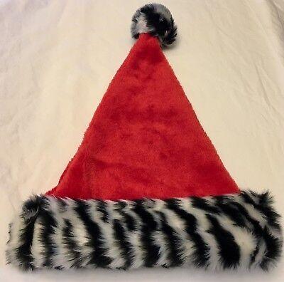 Black And White Santa Hat (Santa Hat - Red with faux fur black white zebra animal print - Adult OSFM -)