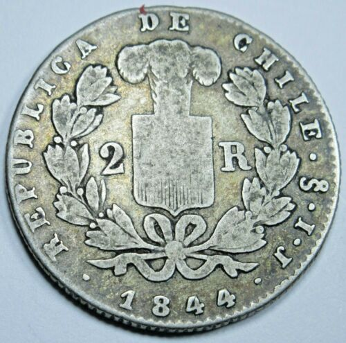 Chile 1844 IJ Santiago 2 Real Antique Chilean Currency Old Money Un Reales Coin