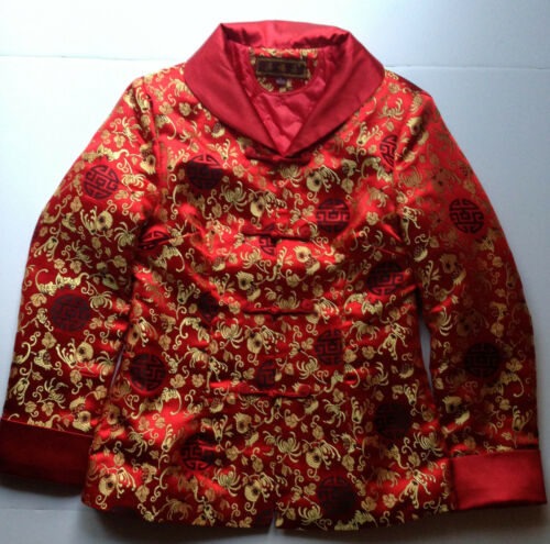 Chinese Natural Silk Red & Gold Jacket Dress Jacket Size L 165/ 88A , Tag Made C