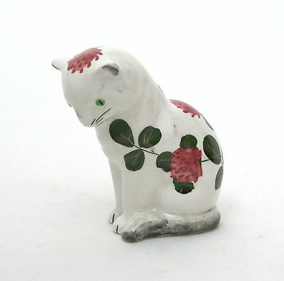Vintage Plichta Wemyss Bovey Pottery Seated Cat In Clover Pattern