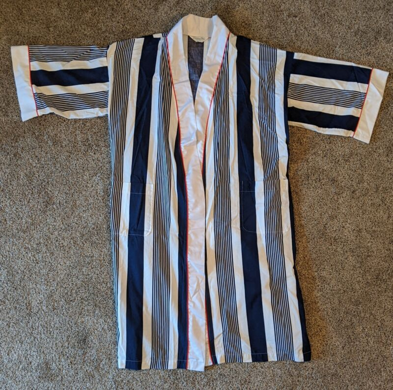 Vtg Christian Dior Blue Striped Cotton Bath Robe Striped