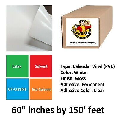3 Inch Core 54 White Self Adhesive Vinyl Glossy Roll White Glue 150ft Length 3.14 mil Thickness Free X Banner Stand Adjustable