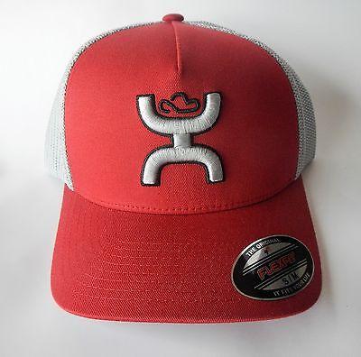 HOOey 1661RDGY-01 Mens Coach Mesh Flexfit Baseball Cap Red & Grey Hat S/M