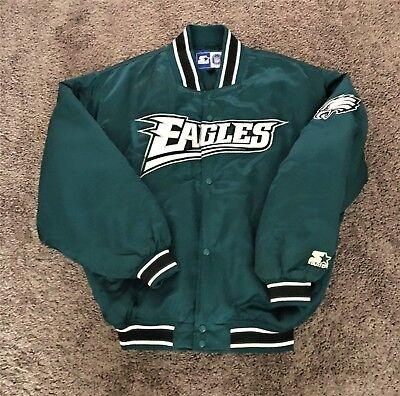 Philadelphia Eagles Vintage Throwback Satin Starter Jacket Large Superbowl Champ