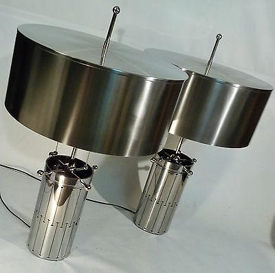 PAIR MACHINE AGE INDUSTRIAL AGE ATOMIC  PIERCED COLUMN FORM TABLE LAMPS LIGHTS