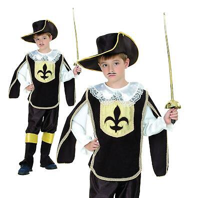 Child Musketeer Costume Boys French Cavalier Fancy Dress Book Day
