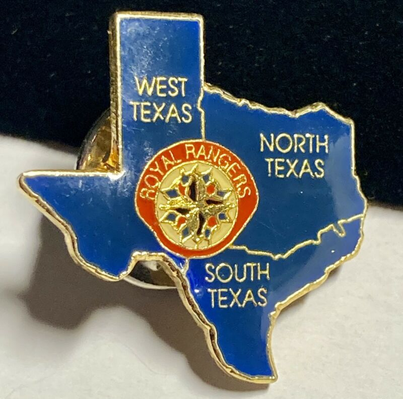 ROYAL RANGERS Pin Texas Shape Vintage Collectible Hat Tie Pin Blue