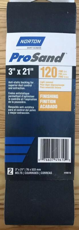 "3"" X 21"" 120 Grit Fine Sanding Belts Norton ProSand BlueFire - 2 Pack #49610"