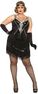 IAL Leg Avenue 85474X Charleston Glamour Flapper Kostüm 20er 44 46 48 50 - Übergröße Schwarz Flapper Kostüm