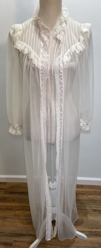 Vintage Lorraine White Peignoir Women's Size Small Sheer Nylon Lace Robe