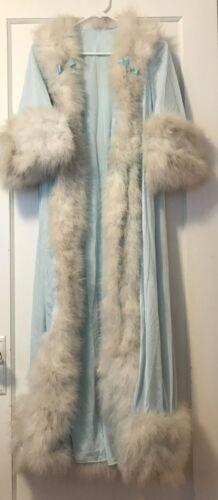 LUCIE ANN CLAIRE SANDRA MARABOU BLUE PEIGNOIR ROBE DRESSING GOWN BEVERLY HILLS