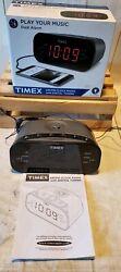 Timex T231GY2 AM/FM Dual-Alarm Clock Radio Digital Tuning Gunmetal Gray