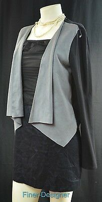 SIB Long Sleeve Open Front Waterfall Drape Cardigan Blazer Shrug jacket SZ M NEW