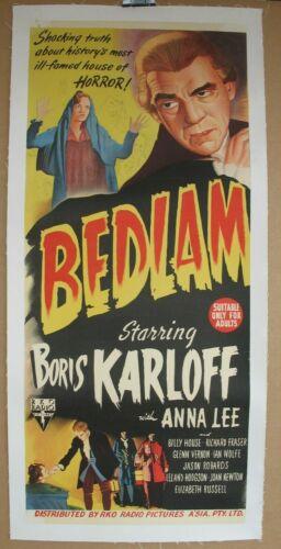 BEDLAM (1946) Original Release Australian Daybill on Linen, Karloff, Lewton, RKO