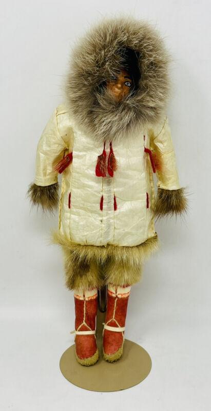Vintage Handmade Alaskan Inuit Yupik Eskimo Doll w/Fur And Leather