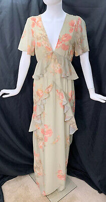 Hope & Ivy Plunge Long Floral Layered Downton Abbey Dress 10 Flutter Sleeve