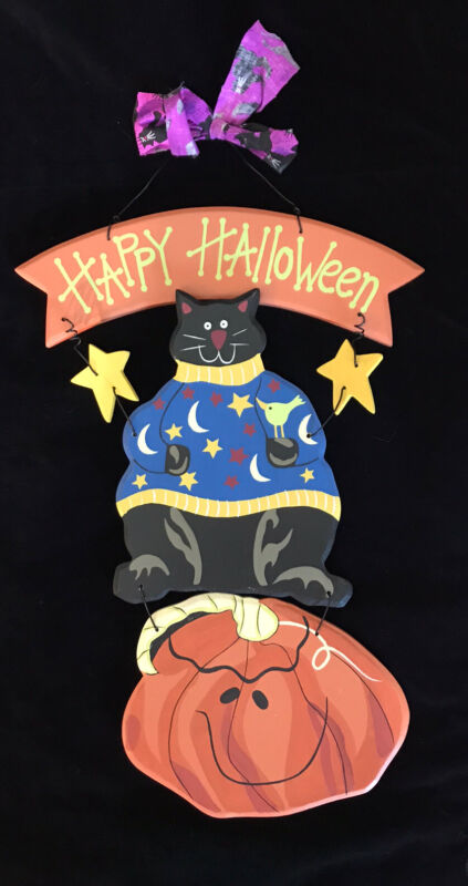 Black Cat Happy Halloween Painted Wood, Pumpkin Wire Wall or Porch Hanging, 3D
