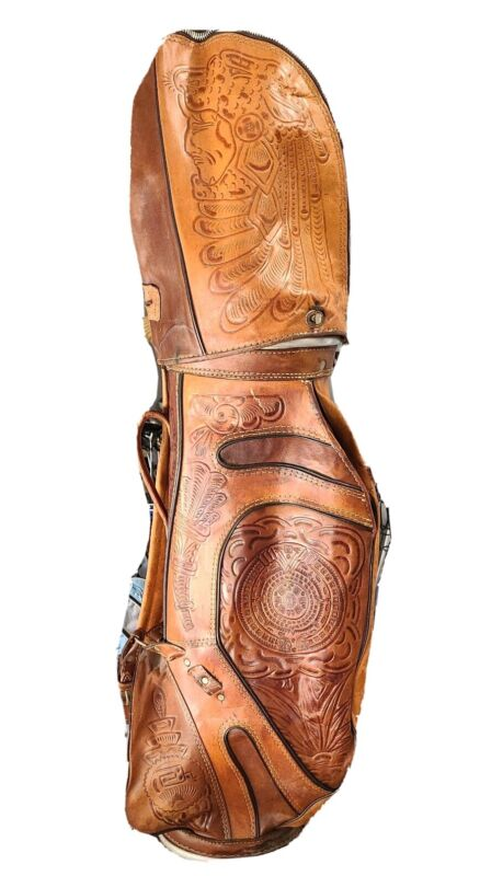 Hand Tooled Leather Golf Bag made in Mexico Aztec with rain guard