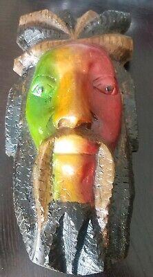 Bob Marley Mask Wall Hanging Carved Wood Dreads Rasta One Love 10.5