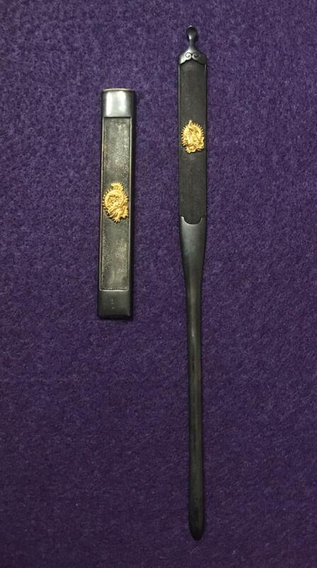 Japanese Sword Dragon Kozuka Kogai Mitokoromono Shakudo Set