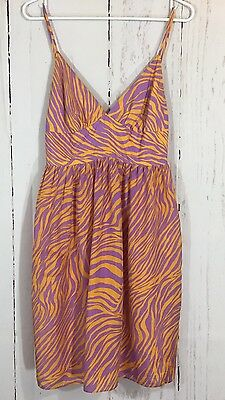 (Milly New York Purple Orange Animal Print 100% Silk Sleeveless Dress Size 2 )